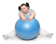 Overweight woman exercising on a white background.