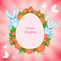 Happy Easter card with rabbits and flowers