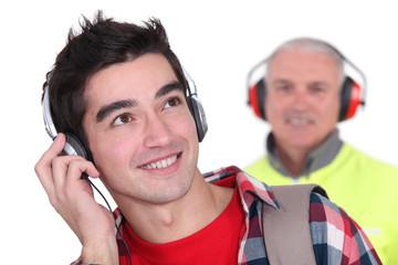 """Young man's """"earmuffs"""""""