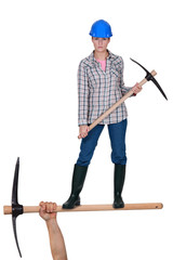 Woman with pick axe