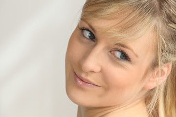 Closeup of a woman with blonde hair