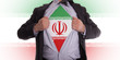 Business man with Iranian flag t-shirt