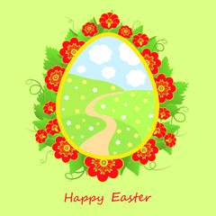 Happy Easter card with flowers