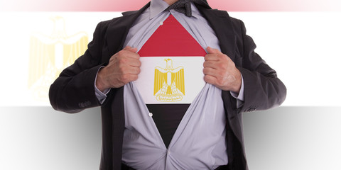 Business man with Egyptian flag t-shirt
