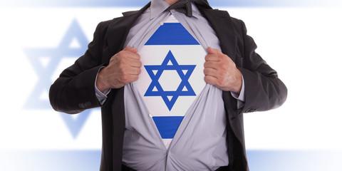 Business man with Israeli flag t-shirt