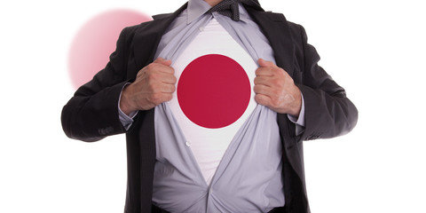 Business man with Japanese flag t-shirt