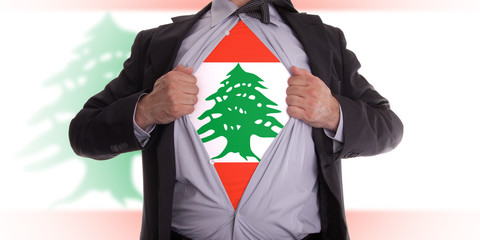 Business man with Lebanese flag t-shirt