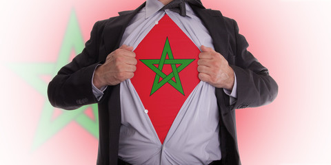 business man with Moroccan flag t-shirt