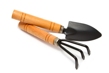 Gardening tools, rake and scoop