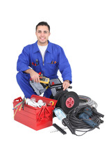 Electrician with a toolbox and wires