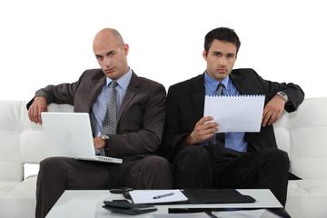 Businessmen working together in presentation