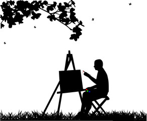 Artist painter man in park painting silhouette