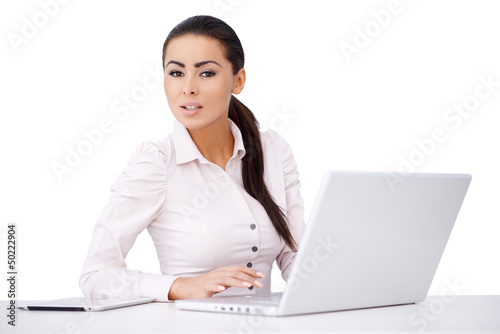 Proffesional worker sitting in front of compurer