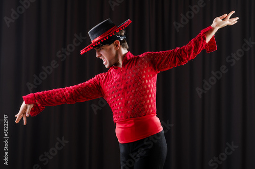 Man in studio dancing spanish dances