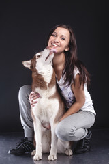 owner with her dog