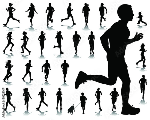 Silhouettes and shadows of running-vector