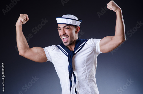 Male sailor in studio shooting