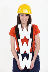 Construction worker holding WWW