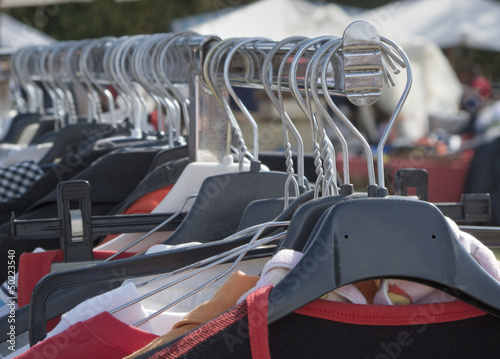 Hangers in an outdoors flea market