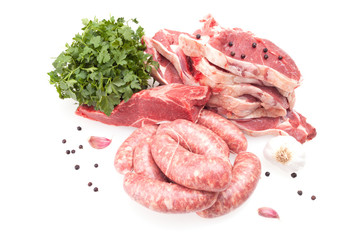 Raw Steaks And Sausages