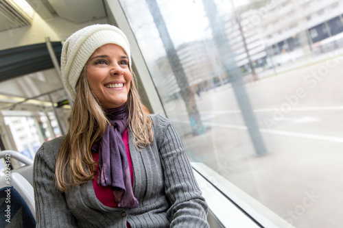 Woman in a bus