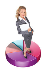 Businesswoman standing on a pie chart