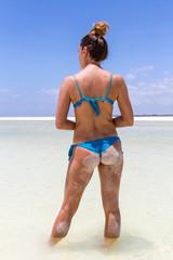 Woman looking at the sea of Kenya