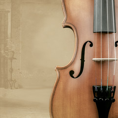 Violin with background decoration