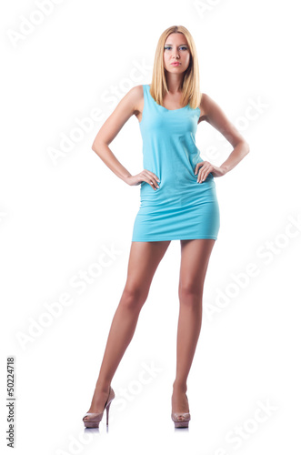 Tall attractive woman model on white