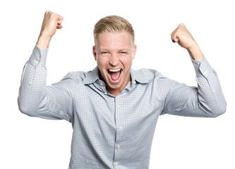 Happy businessman shouting his success.