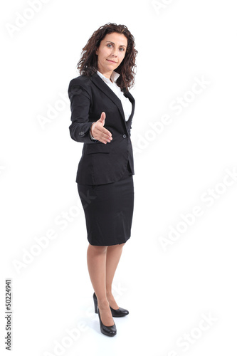 Beautiful mature businesswoman ready to handshake
