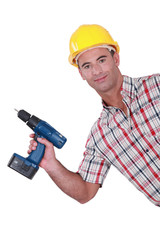 Handyman showing-off his new cordless drill