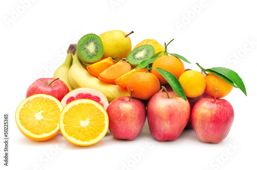 collection fruits isolated on white background