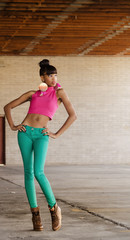 Full length photo of African American model