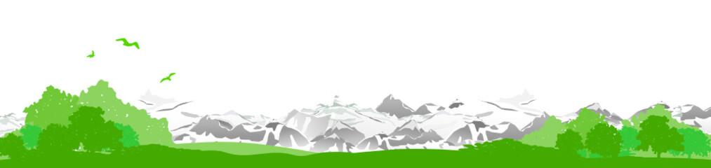 Skyline Lanschaft Wiese und Berge