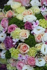 purple, pink and white wedding centerpiece