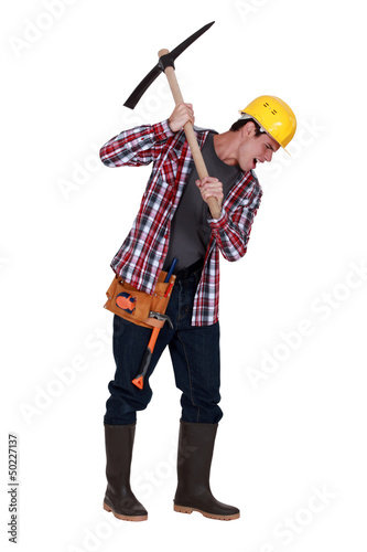Man with pickaxe