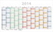 Jahresplaner 2014 bunt incl Kalenderwochen und Feiertage