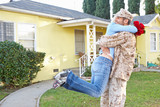 Wife Welcoming Husband Home On Army Leave