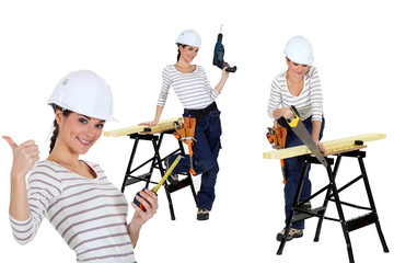 Confident woman using a workbench