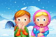 The two shocked girl with snowflakes