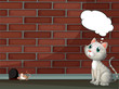 A cat thinking and a mouse