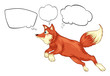 A fox in a jumping position with empty thoughts