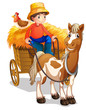 A farmer riding a cart with a chicken at his back