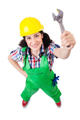 Woman builder isolated on white
