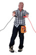 Man getting an electric shock from jump leads