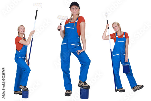 Multiple shot of female decorator