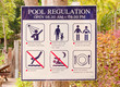 Pool regulation plate.