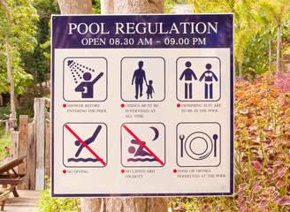 Pool regulation plate.