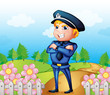 A policeman standing in the garden
